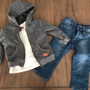 7 for all mankind hoodie/tee + jeans